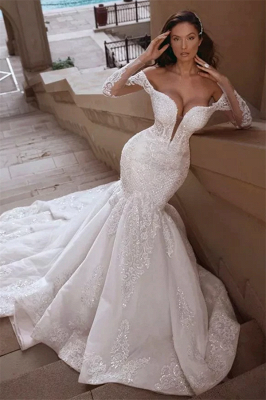 Off the Shoulder Mermaid Wedding Dresses | Sexy Lace Bridal Gowns_1