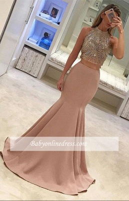 Gorgeous Pink Two-Piece Prom Dresses 2018 Mermaid Evening Gowns with Beadings_3