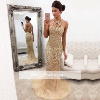 Mermaid Zipper-Back Crystals Gorgeous Halter Sleeveless Prom Dress_1