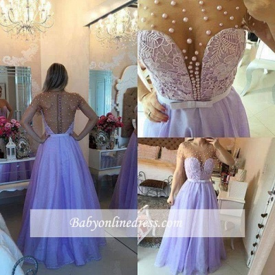 Romantic Lavender Puffy Long Sheer Pearls Short-Sleeves Prom Dresses_3