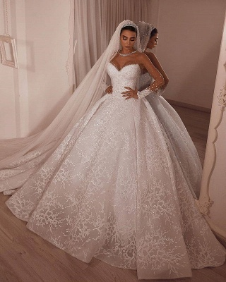 Strapless Ball Gown Lace Wedding Dresses | Sweetheart Princess Bridal Gowns_2