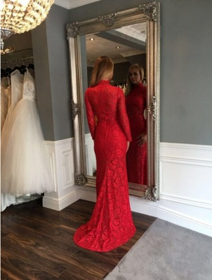 Long-Sleeve Sweep-Train Sexy Red High-Neck Mermaid Lace Prom Dress_3