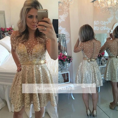 A-line Lace Short Gold Beadings Short-Sleeves Homecoming Dress_1