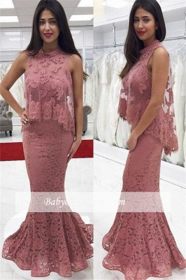 2018 Cute-Pink High-neck Floor-Length Lace Mermaid Prom Dress_1