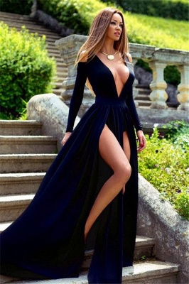 Sexy Deep V-Neck Prom Dresses Side Slit Long Sleeves Evening Gowns_1