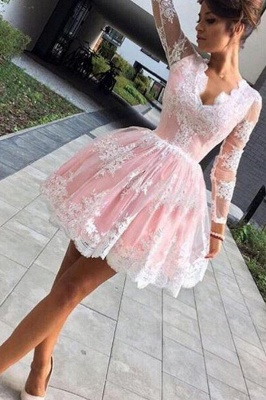Pink Short Lace Homecoming Dresses Deep-V-Neck Long-Sleeves Party Dress_4