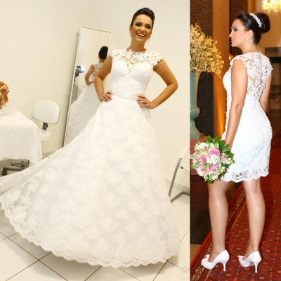Two Pieces Lace Sheath Wedding Dresses Sleeveless Mini Bridal Gowns_4