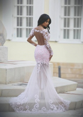 Long Sleeves Lace Prom Dresses Blushing Pink Mermaid Sheer Sexy Evening Gowns_3