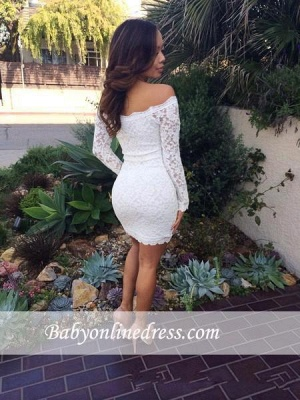 Sexy Mini White Lace Cocktail Dresses Long Sleeves Off-the-Shoulder Homecoming Dresses_1