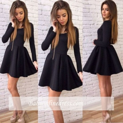 Black Short Long-Sleeves Sexy A-line Homecoming Dresses 2018_1