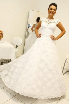 Two Pieces Lace Sheath Wedding Dresses Sleeveless Mini Bridal Gowns_1