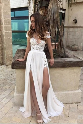Elegant Lace-Appliques Chiffon A-line Front-Split Short-Sleeve Prom Dress_4