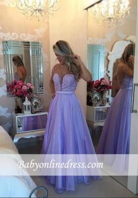Romantic Lavender Puffy Long Sheer Pearls Short-Sleeves Prom Dresses_1
