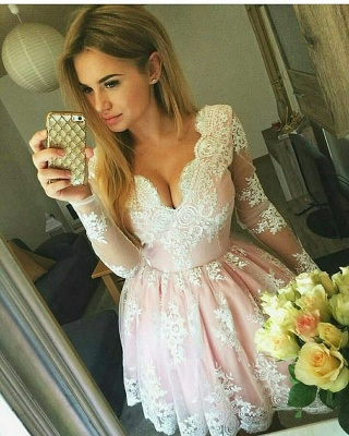 Pink Short Lace Homecoming Dresses Deep-V-Neck Long-Sleeves Party Dress_5