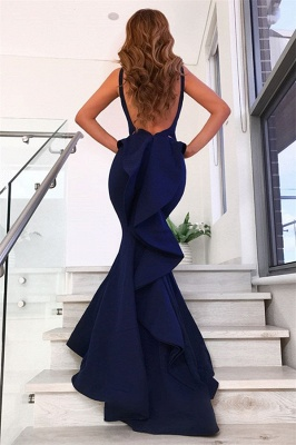 Straps V-neck Long Mermaid Prom Dresses | Floor Length Fit and Flare Evening Dresses_3