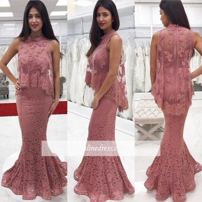 2018 Cute-Pink High-neck Floor-Length Lace Mermaid Prom Dress_3