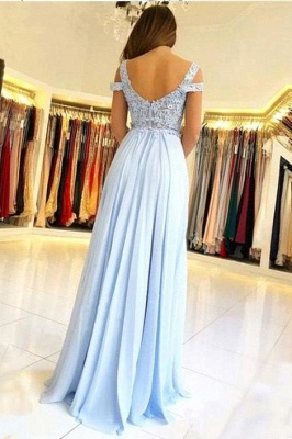 Capped Front Split A-line Prom Dresses | Sexy V-Neck Appliques Evening Dresses_3