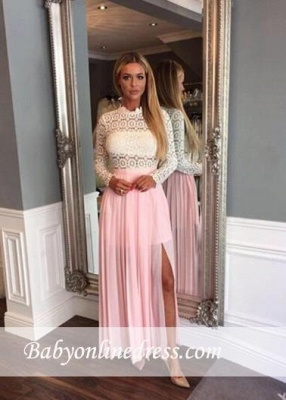 Lace Split Elegant Chiffon Long-Sleeve A-line High-Neck Zipper Prom Dress_1