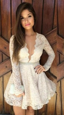 A-Line Deep V-Neck Lace Cocktail Dress Long Sleeve Mini Homecoming Dresses with Beadings_1
