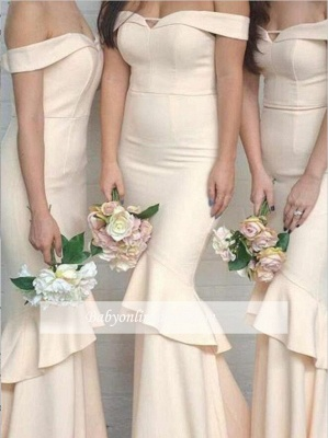 Elegant Off-The-Shoulder Short Sleeves Ruffles Mermaid Bridesmaid Dresses_3