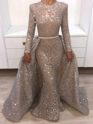 Brilliant Long Sleeves Sequins Evening Dresses | Mermaid Overskirt Popular Prom Dresses_1