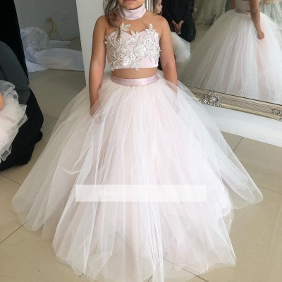 Pink Sweetheart Lovely Two-Pieces Flower Tulle Appliques Girl Dresses_1