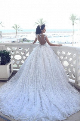 Ball Gown Wedding Dresses 3D-Floral Appliques Beaded Luxury Bridal Gowns_5