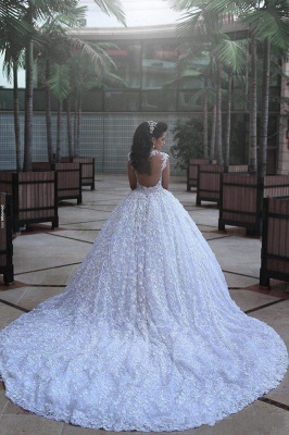 Ball Gown Wedding Dresses 3D-Floral Appliques Beaded Luxury Bridal Gowns_4