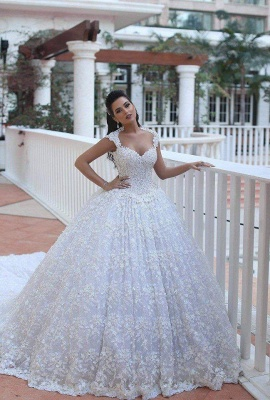 Ball Gown Wedding Dresses 3D-Floral Appliques Beaded Luxury Bridal Gowns_3
