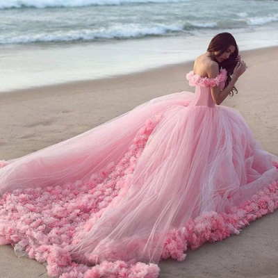 Pink Cloud Wedding Dresses Off the Shoulder Flowers Fairy Ball Gown Bridal Gowns_3