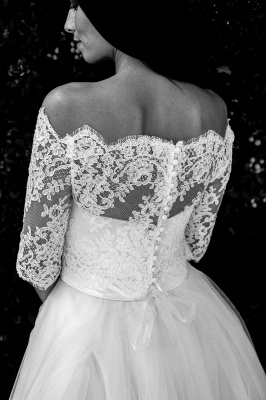 Half-sleeves Ball-Gown Lace Floor Length Simple Off-the-shoulder Wedding Dresses_3