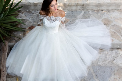 Half-sleeves Ball-Gown Lace Floor Length Simple Off-the-shoulder Wedding Dresses_4