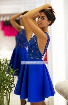 2018 Scoop-Neck V-back Royal-Blue Cute Short Prom Dress_3