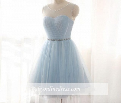 Illusion Sleeveless A-line Newest Tulle Beads Mini Homecoming Dress_1