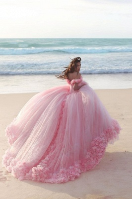 Pink Cloud Wedding Dresses Off the Shoulder Flowers Fairy Ball Gown Bridal Gowns_4