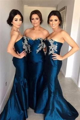 Simple Appliques Sweetheart Mermaid Bridesmaid Dresses with Beadings_2