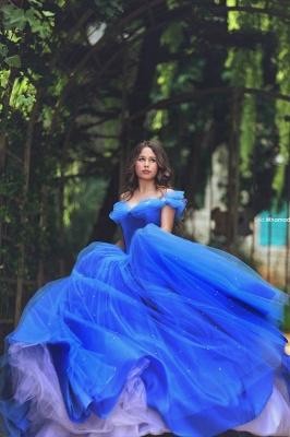 Royal Blue Ball Gown Princess Dresses Off Shoulder Floor Length Stunning Prom Dresses_3