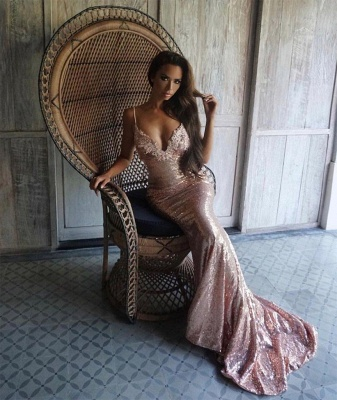 Shiny Sequins Mermaid Prom Dresses   Sexy Spaghetti Straps Lace Open Back Evening Dresses_5