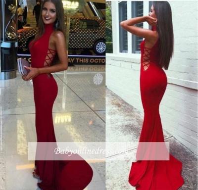 Sexy Mermaid High-Neck Prom Dress Sleeveless Sweep-Train Evening Gowns BA4418_4