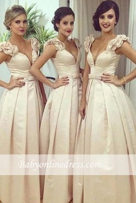 Floor-length V-neck Bow Ruched Ball-Gown Birdesmaid Dress_3