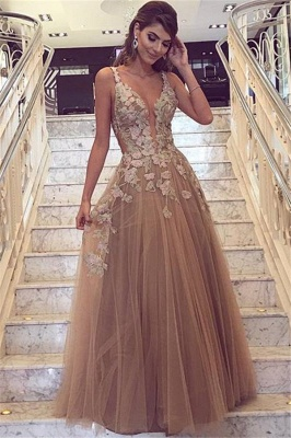 Chic Champagne Tulle Prom Dresses | Straps Lace Appliques Evening Gowns_1