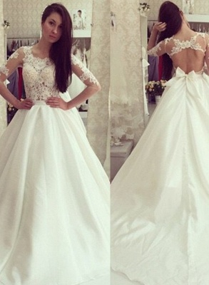 Sweep Train Sweep Train Half Sleeves Bow Gorgeous A-line Wedding Dress_2