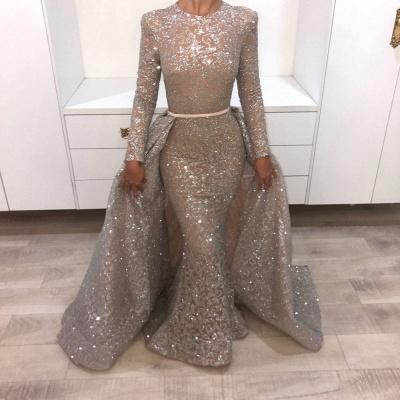 Brilliant Long Sleeves Sequins Evening Dresses | Mermaid Overskirt Popular Prom Dresses_5