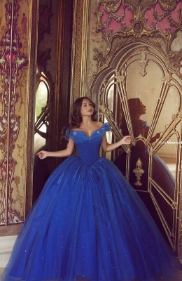 Royal Blue Ball Gown Princess Dresses Off Shoulder Floor Length Stunning Prom Dresses_4