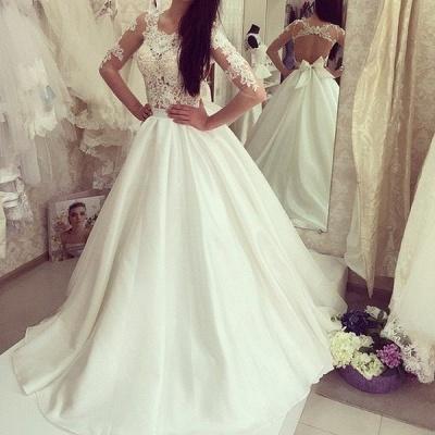 Sweep Train Sweep Train Half Sleeves Bow Gorgeous A-line Wedding Dress_3