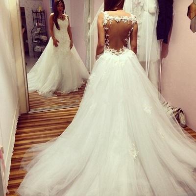 Elegant Mermaid Backless Wedding Dresses | Lace Appliques With Detachable Train_3