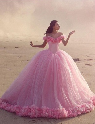 Pink Cloud Wedding Dresses Off the Shoulder Flowers Fairy Ball Gown Bridal Gowns_1