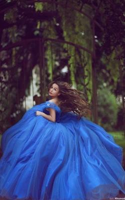 Royal Blue Ball Gown Princess Dresses Off Shoulder Floor Length Stunning Prom Dresses_2