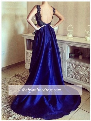 Hi-Lo Appliques Sexy Open-Back Straps Blue Prom Dresses_3