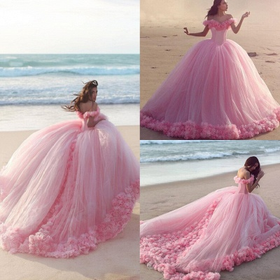 Pink Cloud Wedding Dresses Off the Shoulder Flowers Fairy Ball Gown Bridal Gowns_5